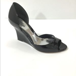 Gucci Patent Leather D'Orsay Peep Toe Wedge Shoe